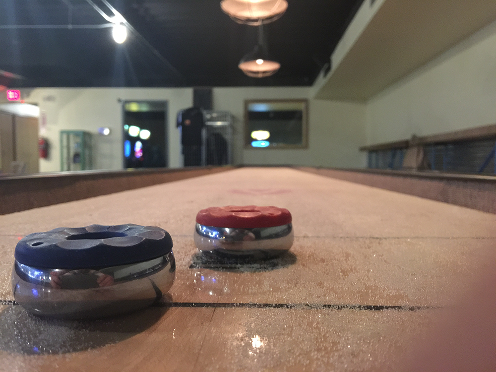 We enjoyed HOURS of tabletop shuffleboard at Brew Detroit
